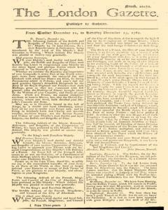 London Gazette, December 21, 1762, Page 1
