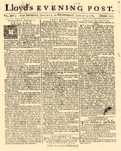 London Lloyd Evening Post, January 02, 1764, Page 1