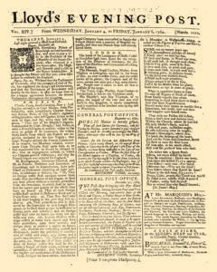 London Lloyd Evening Post, January 04, 1764, Page 1
