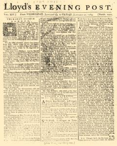 London Lloyd Evening Post, January 25, 1764, Page 1