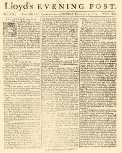 London Lloyd Evening Post, February 10, 1764, Page 1