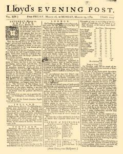 London Lloyd Evening Post, March 16, 1764, Page 1