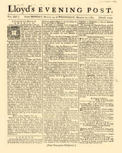 London Lloyd Evening Post, March 19, 1764, Page 1