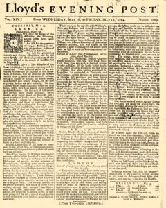 London Lloyd Evening Post, May 16, 1764, Page 1