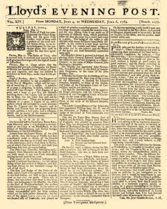London Lloyd Evening Post, June 04, 1764, Page 1