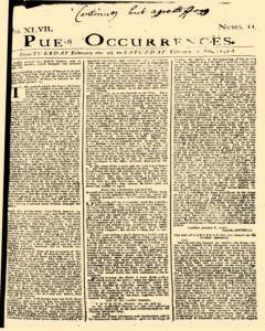 London Pues Occurrences, February 02, 1747, Page 1