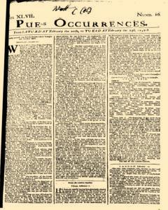 London Pues Occurrences, February 20, 1747, Page 1