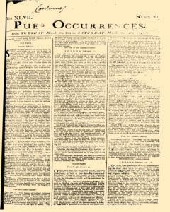 London Pues Occurrences, March 08, 1747, Page 1