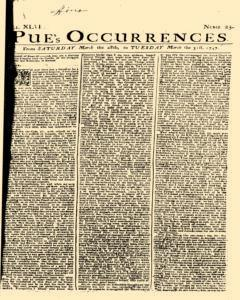 London Pues Occurrences, March 28, 1747, Page 1