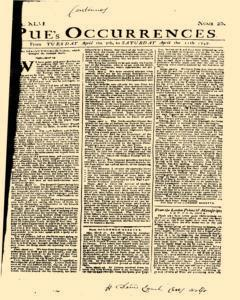 London Pues Occurrences, April 07, 1747, Page 1