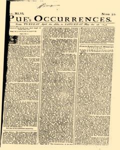 London Pues Occurrences, April 28, 1747, Page 1