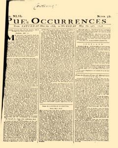 London Pues Occurrences, May 16, 1747, Page 1