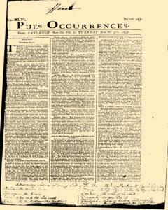 London Pues Occurrences, June 06, 1747, Page 1