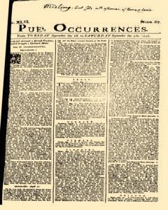 London Pues Occurrences, September 01, 1747, Page 1