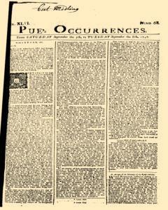 London Pues Occurrences, September 05, 1747, Page 1