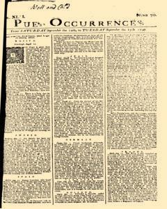 London Pues Occurrences, September 12, 1747, Page 1