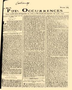 London Pues Occurrences, September 26, 1747, Page 1