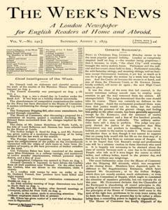 London Week News, August 07, 1875, Page 1