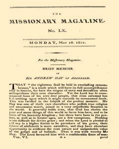 Missionary Magazine, May 18, 1801, Page 1