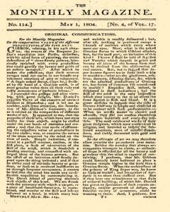 Monthly Magazine, May 01, 1804, Page 1