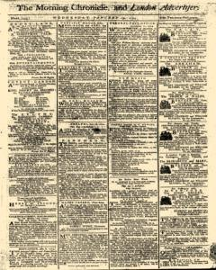 Morning Chronicle And London Advertiser, January 19, 1774, Page 1