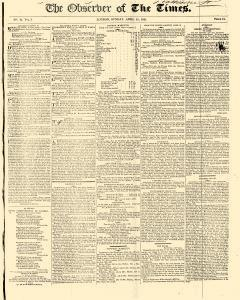 Observer Of The Times, April 15, 1821, Page 1