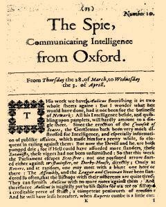Parliamentary Intelligence, March 28, 1644, Page 1
