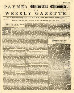Paynes Universal Chronicle Or Weekly Gazette, July 22, 1758, Page 1