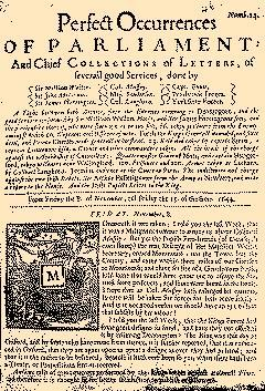 Perfect Occurences Of Parliament, November 08, 1644, Page 1