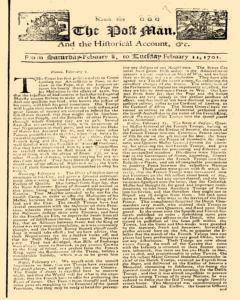 Post Man, February 08, 1701, Page 1