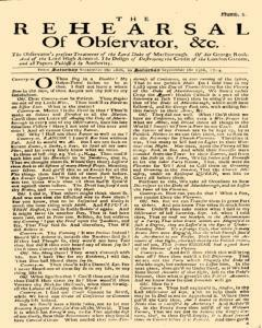 Rehearsal Of Observator, September 16, 1704, Page 1