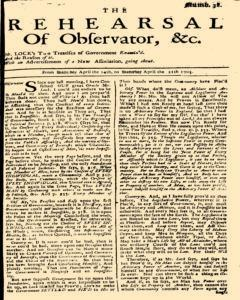 Rehearsal Of Observator, April 14, 1705, Page 1