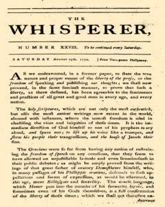 Whisperer, August 25, 1770, Page 1