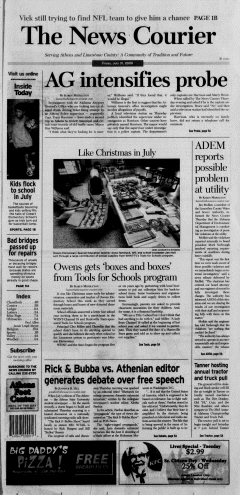 Athens News Courier, July 31, 2009, Page 1