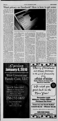 Athens News Courier, December 20, 2009, Page 24