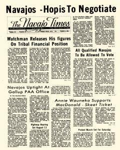 Window Rock Navajo Times, August 08, 1974, Page 1
