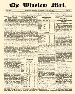 Winslow Mail, August 22, 1908, Page 1
