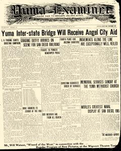 Yuma Examiner, August 28, 1913, Page 1