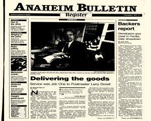 Anaheim Bulletin, October 08, 1992, Page 1