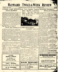 Hayward Twice A Week Review, December 20, 1912, Page 1