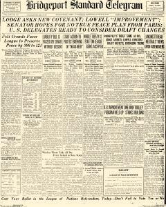 Bridgeport Standard Telegram, March 20, 1919, Page 1