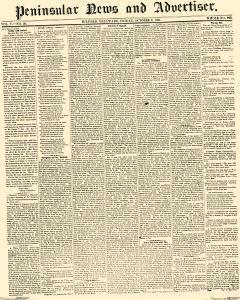 Peninsular News And Advertiser, October 11, 1861, Page 1