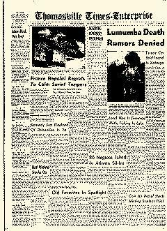 Thomasville Times Enterprise, February 11, 1961, Page 1