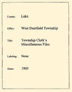 Deerfield Lake County Township Records, January 01, 1903, Page 1