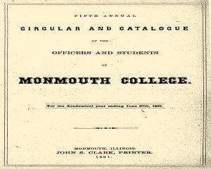 Monmouth College Catalog, June 27, 1861, Page 1