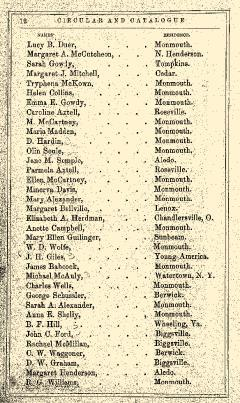 Monmouth College Catalog, June 27, 1861, Page 12