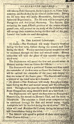 Monmouth College Catalog, June 27, 1861, Page 21