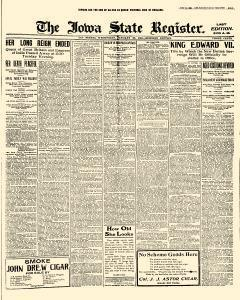 Des Moines Iowa State Register, January 23, 1901, Page 1