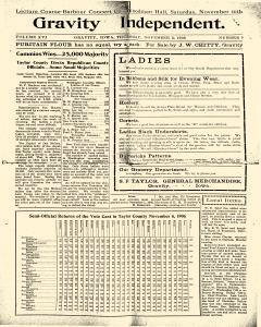 Gravity Independent, November 08, 1906, Page 1