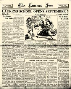 Laurens Sun, August 18, 1938, Page 1